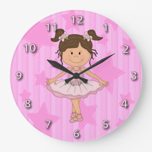 Cute Pink Ballet Girl On Stars and Stripes Round Clock