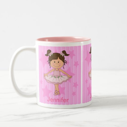 Cute Pink Ballet Girl On Stars and Stripes Two-Tone Coffee Mug