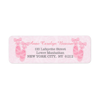 Cute Pink Ballet Shoes Damask Personalized Label