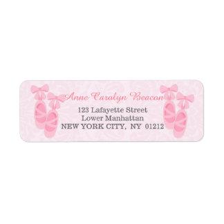 Cute Pink Ballet Shoes Damask Personalized Return Address Label