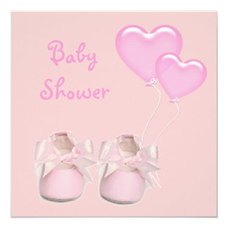 Cute Pink Balloon Girl Baby Shower Invitation