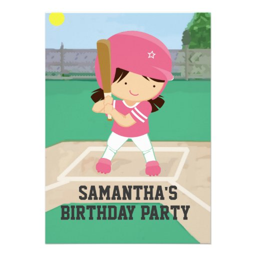 Cute Pink Baseball Girl Birthday Party Personalized Invitations