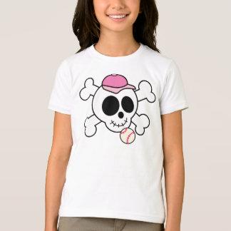 Cute Pink Baseball Skull and Crossbones T-Shirt