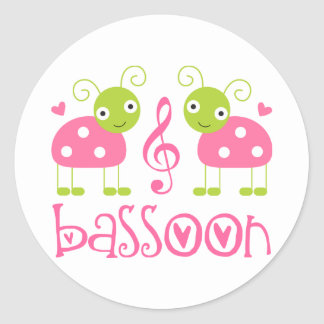 Cute Pink Bassoon Ladybug Music Gift Classic Round Sticker