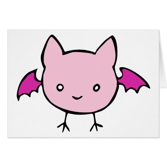 Cute Pink Bat Card