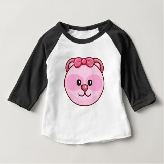 Cute Pink Bear Cartoon Black Customizable Baby Baby T-Shirt