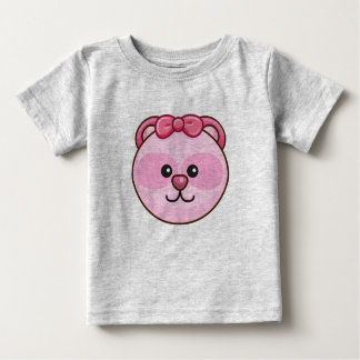 Cute Pink Bear Cartoon Grey Customizable Baby Baby T-Shirt