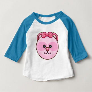 Cute Pink Bear Cartoon Neon Blue Custom Baby Baby T-Shirt