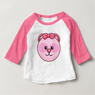 Cute Pink Bear Cartoon Neon Pink Custom Baby Baby T-Shirt