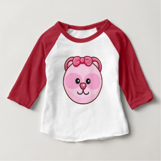 Cute Pink Bear Cartoon Red Custom Baby Baby T-Shirt