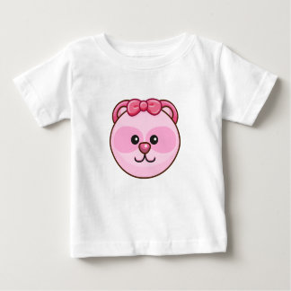 Cute Pink Bear Character Customizable Baby Baby T-Shirt