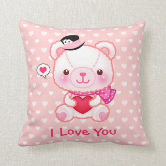 Cute pink bear with hearts - Happy Valentine Throw Pillows