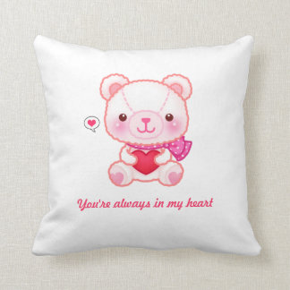Cute pink bear with hearts - Happy Valentine Throw Pillow