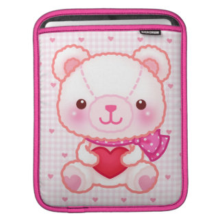 Cute pink bear with red heart iPad sleeve