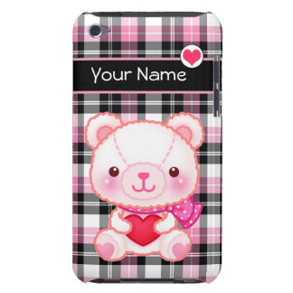 Cute pink bear with red heart - Personalized Barely There iPod Case