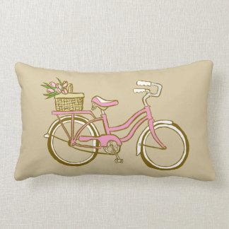Cute Pink Bicycle with Tulips Lumbar Pillow