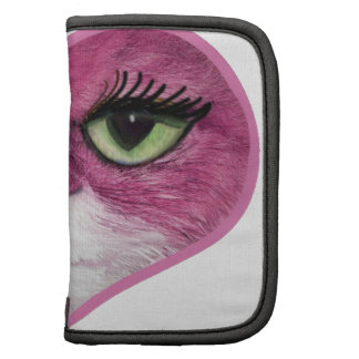 CUTE PINK BIG EYES CAT FACE, GIRLY PINK CAT GIFTS FOLIO PLANNER