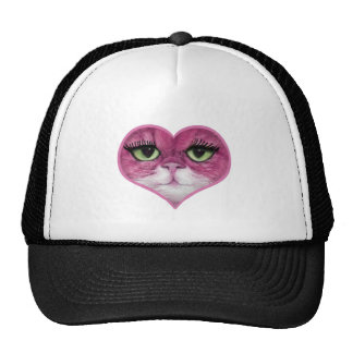 CUTE PINK BIG EYES CAT FACE, GIRLY PINK CAT GIFTS TRUCKER HAT