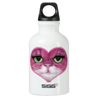 CUTE PINK BIG EYES CAT FACE, GIRLY PINK CAT WATER BOTTLE
