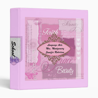 Cute PINK Binder with Girly Roses White and PINK
