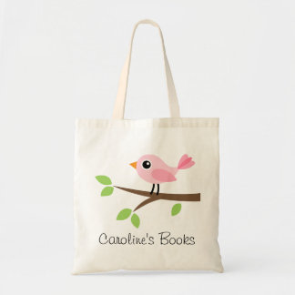 Cute pink bird girls personalized library book tote bag