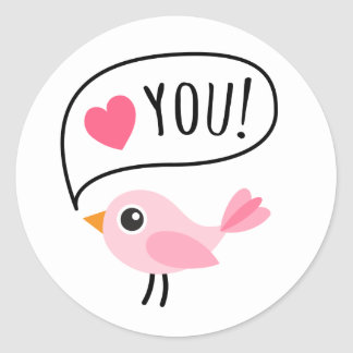 Cute pink bird I love (heart) you cartoon Classic Round Sticker