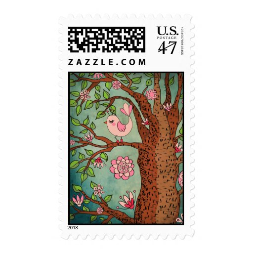 Cute Pink Bird in Red Boots Stamp