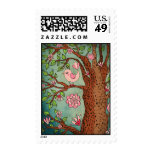 Cute Pink Bird in Red Boots Stamps