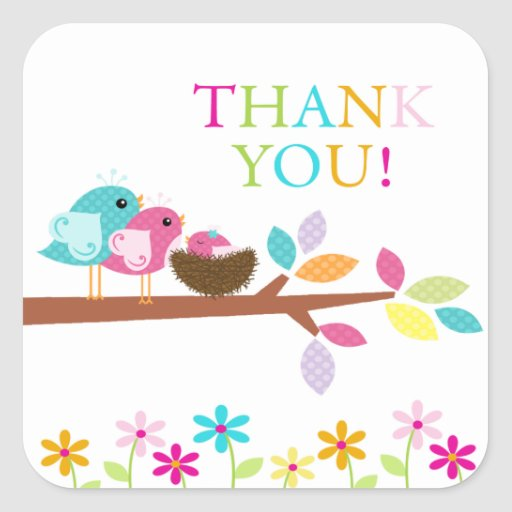 Cute Pink Bird Nest Thank You Baby Shower Square Square Sticker