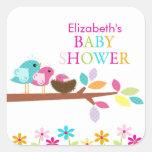 Cute Pink Bird Nest Thank You Baby Shower Square Sticker