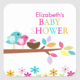 Cute Pink Bird Nest Thank You Baby Shower Square Sticker