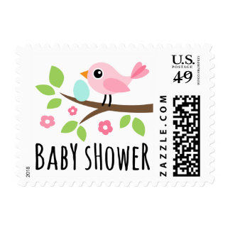 Cute pink bird on branch with egg baby shower postage