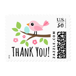 Cute pink bird on branch with egg thank you postage