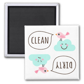 Cute pink bird on little cloud clean dirty 2 inch square magnet