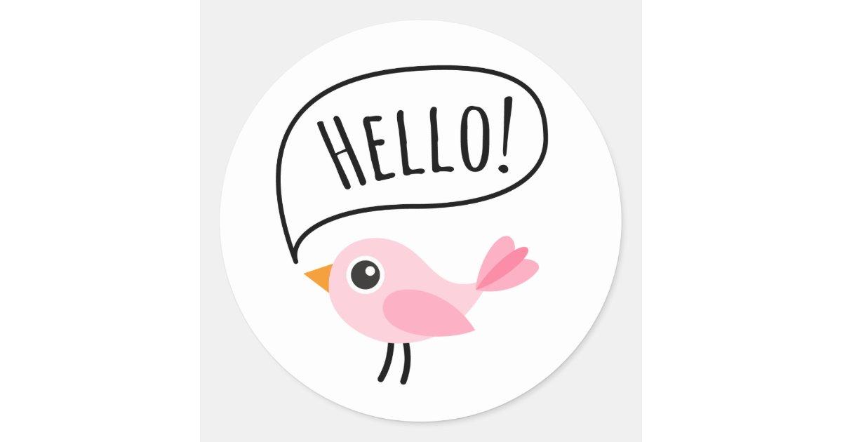Cute_pink_bird_saying_hello_cartoon_classic_round_sticker 217488064326462879 on Bat Crafts For Kids