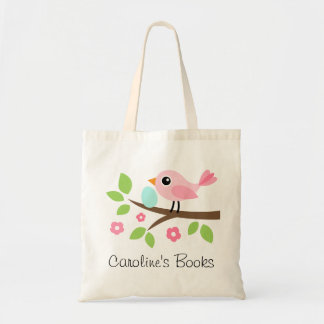 Cute pink bird with egg personalized library book budget tote bag