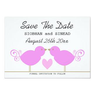 Cute Pink Birds Lesbian Wedding Save The Date Card