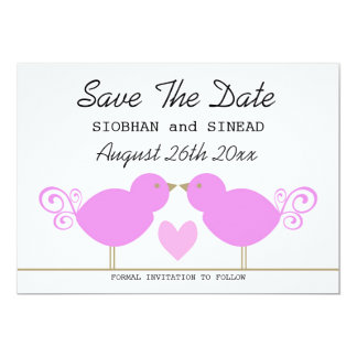Cute Pink Birds Lesbian Wedding Save The Date Personalized Announcement