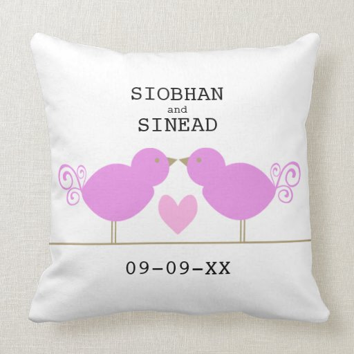 Cute Pink Birds With Pink Heart Pillow Zazzle