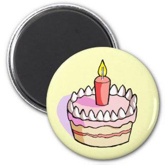Cute Pink Birthday Cake Drawing Fridge Magnet