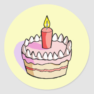 Cute Pink Birthday Cake Drawing Round Stickers