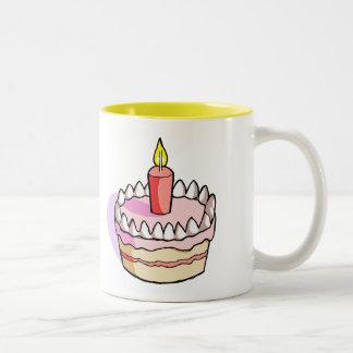Cute Pink Birthday Cake Drawing Two-Tone Mug