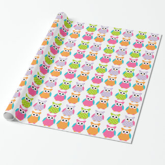 Cute Pink Birthday Owl Wrapping Paper
