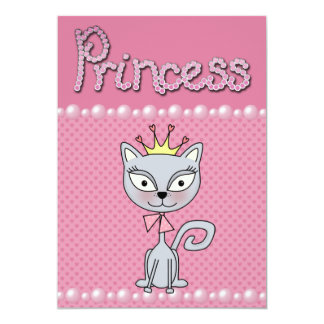 Cute Pink Birthday Party Princess Kitty Cat Card