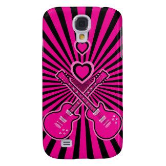 Cute Pink & Black Guitars & Hearts Samsung Galaxy S4 Covers