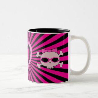 Cute Pink & Black Heart & Skulls Mugs