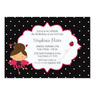 "Cute pink black ladybug birthday party invitation 5"" x 7"" invitation card"