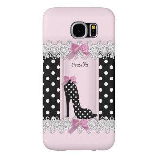 Cute Pink Black Polka Dots High Heel Samsung Galaxy S6 Case