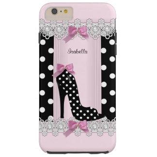 Cute Pink Black Polka Dots High Heel Tough iPhone 6 Plus Case