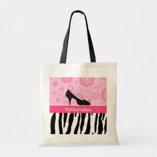 Cute Pink Black Shoes Trendy Zebra Print With Name Budget Tote Bag